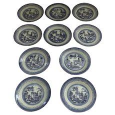 """10 x 5 3/4"""" 19th Century Chinese Export Canton Small Plates 5 3/4"""""""