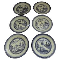 "Group of  Six (6) 8 1/2"" 19th Century Chinese Export Blue and White Plates"