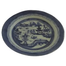 """8 1/2"""" 19th Century Chinese Export Canton Blue and White Landscape Plate"""