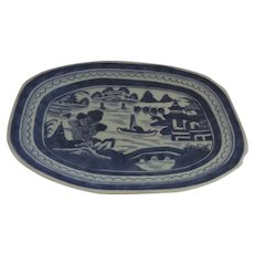 19th Century Chinese Export Canton Blue and White Landscape Petit Small Platter