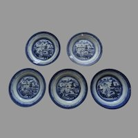 """5 x 7 1/4"""" 19th Century Chinese Blue and White Landscape Plates"""