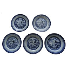 "5 x 7 1/4"" 19th Century Chinese Blue and White Landscape Plates"