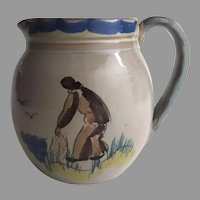 Vintage Norwegian Norway GRAVEREN NORSK POTTERY Pitcher Country Fisherman