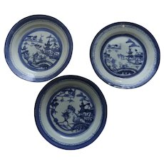 """3 x 8 1/2"""" 19th Century Chinese Export Canton Blue and White Landscape Plates"""