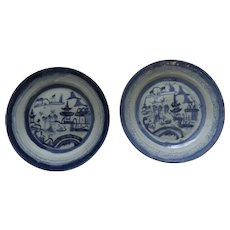"""2 x 9"""" 19th Century Chinese Export Blue and White Canton Plates"""