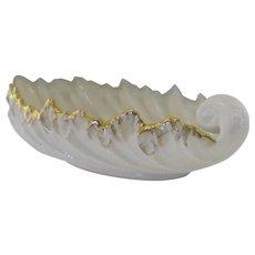 """Vintage Lenox Ivory Gold Leaf Shaped Dish 9"""""""
