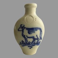 Vintage Shadowlawn Pottery Delavan Wisconsin Salt Glazed Stoneware Flask Vase Cow Country Kitchen