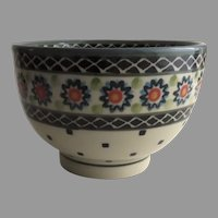 Vintage Pottery Stoneware  Dessert Bowl Handmade and Handpainted by the Ceramika Artystyczna factory in Boleslawiec
