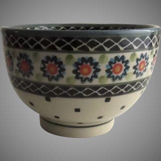 Vintage Pottery Stoneware  Dessert Bowl Handmade and Handpainted by the Ceramika Artystyczna factory in Boleslawiec