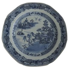 Chinese Export Soup Plate Blue and White Octagon 18th Century
