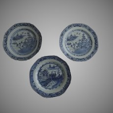 Three (3) Chinese Export Soup Plates Blue and White Octagon 18th Century
