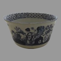 English Mid 19th Century Blue and White Chinoiserie Decorated Bowl