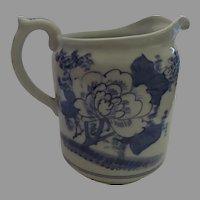 Large Vintage Older Japanese Watercolor Chrysanthemum Glaze Porcelain Pitcher Blue and White