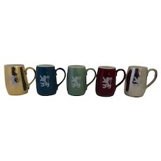 Set of 5 Mid Century Coors Beer Pottery Glazed Mugs Steins Lion