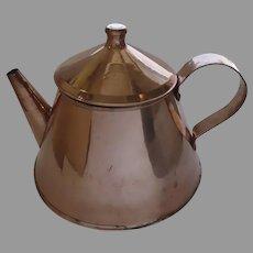 Large Vintage Copper Tea Coffee Pot Great Shape