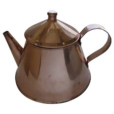 Large Vintage Copper Tea Coffee Pot Great Shape