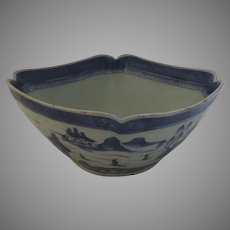 Chinese Export Blue and White Canton Bowl