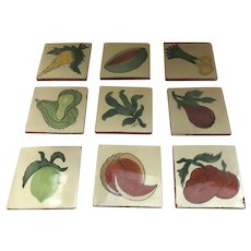 """Vintage Talavera Clay Tiles 4"""" by 4"""" Fruits Vegetables (13 count)"""