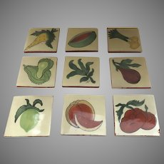 "Vintage Talavera Clay Tiles 4"" by 4"" Fruits Vegetables (13 count)"