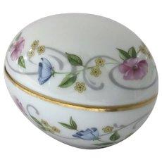 Vintage Egg Shape Two Part Porcelain Box Chamart, Limoges France