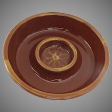 Vintage Williams Sonoma Individual Chip Dip Bowl Brown Yellow Flower Pottery Portugal Serving Piece