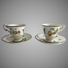 2 x  Vintage Coalport Strawberry Collectible Coffee Cup & Saucers