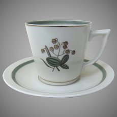 Vintage Flat Cup & Saucer Set in Quaking Grass by Royal Copenhagen