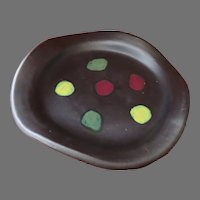 Bitossi Raymor Italy Pottery Dish Striking Signed Label