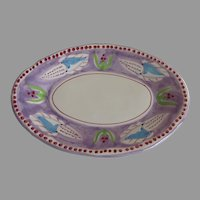 Purple Solimene Vietri made in Italy with Corn Design Plate