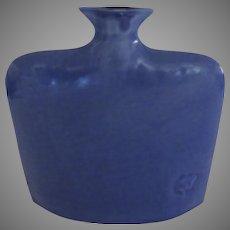 Vintage Earth And Sky Pottery North Carolina USA ~ Small Flask Art Vase Signed Deep Blue