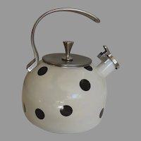 Vintage Kate Spade New York Polka Deco Dot Black and White Tea Kettle Pot