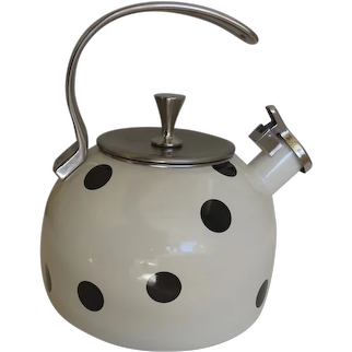 Vintage Kate Spade New York Polka Deco Dot Black and White Tea Kettle Pot