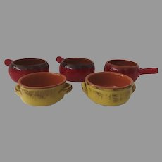 """De Silva Terre D'Umbria Red and Yellow Terracotta Soup Bowls  Italy 5"""" Set of Five Made in Italy"""
