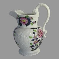 English 19th Century Ironstone Pitcher Jug Floral Carnation