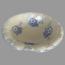 19th Century English Blakeney Staffordshire Blue and White Large Ironstone Bowl Basket of Flowers