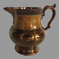 19th Century Copper Luster Pitcher with Copper Band
