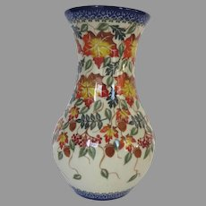 "Unikat Ceramika Polish Pottery ""Autumnal Leaves"" Glazed 9"" Tall"