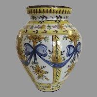 Vintage Majolica Faience Vase Bows