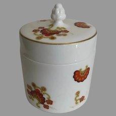 Oberon Lidded Jar Minton Fine  Bone China Made in England White Orange Flowered