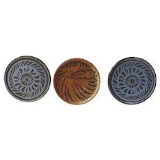 Group of Three Vintage Stoneware Trivets Plant Trivets Signed Evans