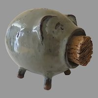 Pike Place Market Green Clay Glazed Piggy Bank with Stripes and Cork Handmade