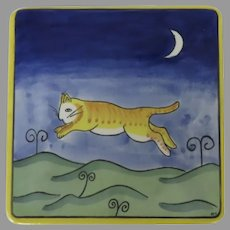 Cat Moon Pottery Trivet with a Yellow Outline in a Night Mountain Theme Artist Initialed Signed