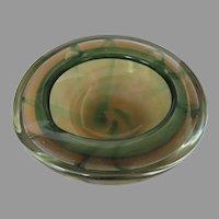 Italian Murano Glass Geode Bowl Swirl Yellows Greens