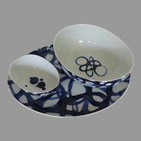 Set of Three (3) Crate and Barrel of Paola Navone made in Portugal Bowls and Large Platter