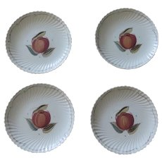 """Susie Cooper Production Crown Works Burslem England Set of Four 9"""" Fruit Early 20th Century"""