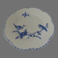 """The Source Perrier """"Nesting"""" Blue and White Dinner Plate Made in France Birds Anita Tiburzi Limoges"""