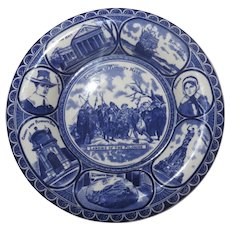English Blue and White Souvenir Plate Landing of the Pilgrims Plymouth Mass by Ridgways c 1910 Thanksgiving History