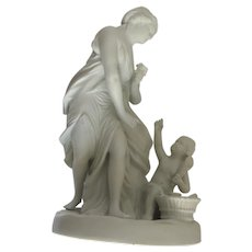 Early 20th Century Bisque Parian Mother Child Figure German