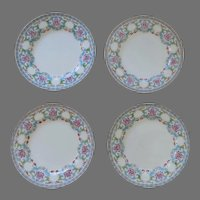 "4 x 1910 Mintons B833 Porcelain Aqua Blue Pink Floral Dinner Plates 8 3/4"""