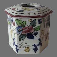 English 19th Century Porcelain Hair Receiver Pot Ironstone
